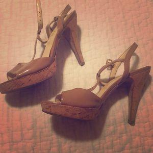 Franco Sarto Tan Cork Heels
